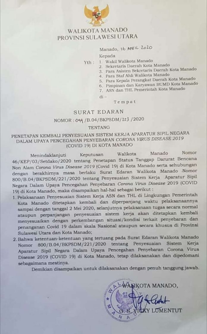 surat edaran walikota manado perpanang wfh pns