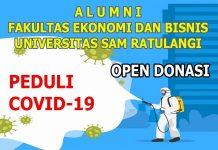alumni feb unsrat manado salurkan bantuan corona