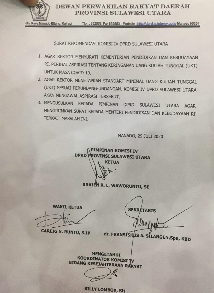 surat rekomendasi komisi 4 dprd sulut